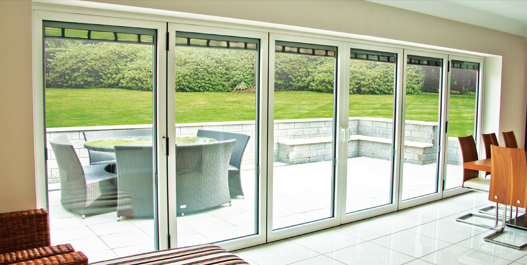 Closed Bifold Doors with Outside Patio Area