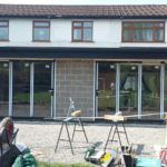Bifold Door Installation Showing Work In Progress
