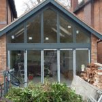 Outside View of Bifold Doors with Custom Window