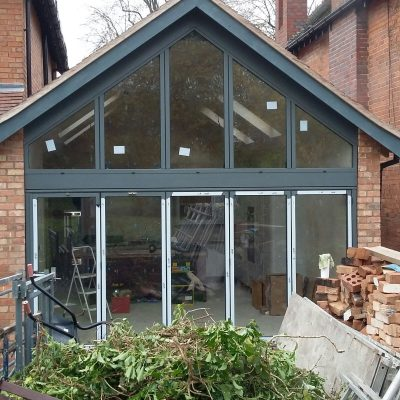Outside Shot of Bifold Door with Pitched Window