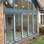 Outside Side View of Bifold Doors with Custom Window
