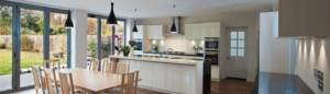 Picture of a Modern Kitchen with Bifold Doors on the Left Wall